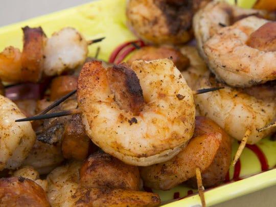 Zesty Grilled Cajun Shrimp and Andouille Sausage.