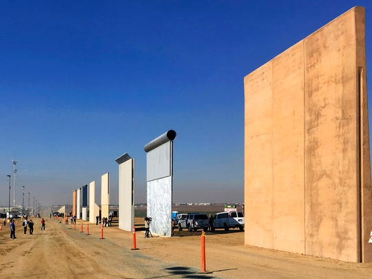This Oct. 26, 2017 file photo shows prototypes of border