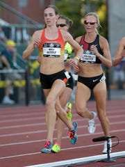 Molly Huddle runs to a win in the women's 10,000 meters at the USA Track and Field Outdoor Championships at Hayward Field on June 25.
