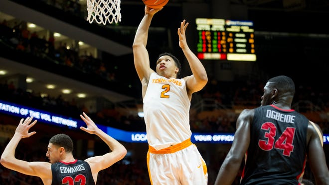 Tennessee's Grant Williams (2) goes for a layup during an NCAA SEC basketball game between the Tennessee Volunteers and the Georgia Bulldogs on Saturday, Feb. 11, 2017, at Thompson-Boling Arena in Knoxville.