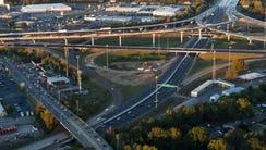 The Interstate 40-240 interchange, under construction