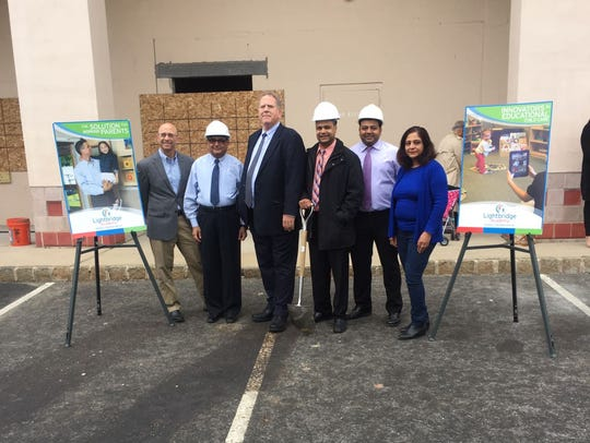 From left during the Ligthbridge Academy groundbreaking