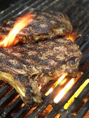 A steak on the grill