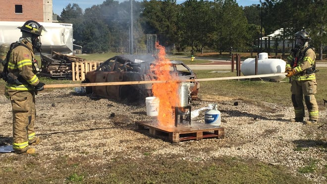 Tallahassee firefighters demonstrate how not to fry a whole turkey for Thanksgiving.