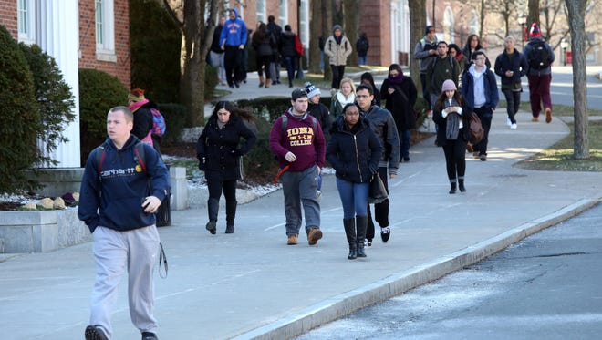 Iona College students change classes on campus.