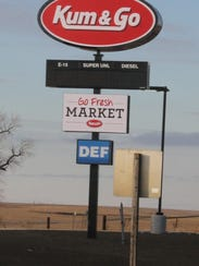 The sign outside Kum & Go, just off exit 216 of Interstate
