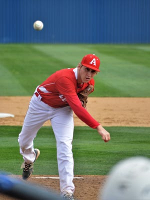 Albany pitcher Brian Hamilton delivers a first-inning pitch during Friday's 8-2 win at Stamford.