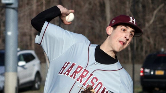 Harrison's Matt Hendler pitched a complete game shutout as Harrison defeated Pelham 2-0 in a varsity baseball game at Pelham April 5, 2017.