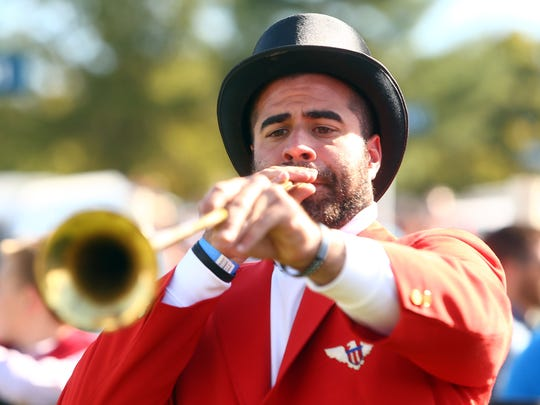 Bugler Mark Tarentino of Fayetteville, NC plays the call to post for the first race during the 97th running of the Far Hills Race Meeting at Moorland Farms. October 21, 2017. Far Hills, New Jersey
