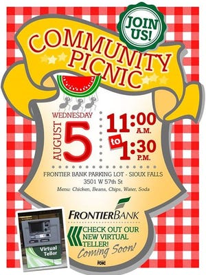 Frontier Bank will hold a community picnic today.