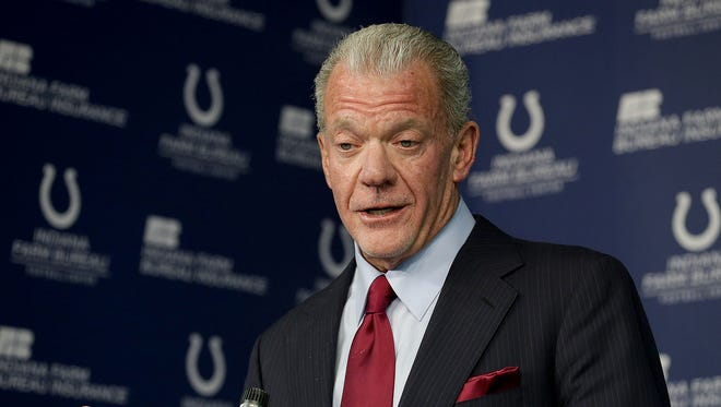 Indianapolis Colts owner and CEO Jim Irsay announces the he has fired general manager Ryan Grigson during a press conference Saturday, January 21, 2017, late afternoon at the Colts complex on W 56th Street.