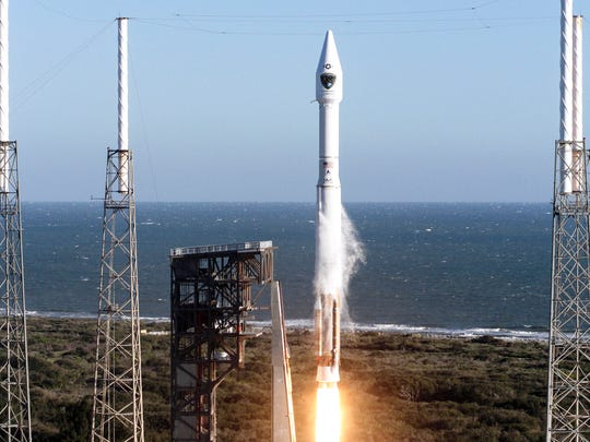 An Atlas V rocket carrying the GPS IIF-12 mission lifted