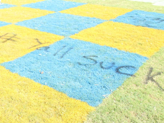 "McNairy Central's field vandalized with ""# Yall Suck."""