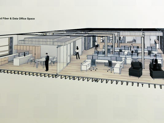 This artist's rendering shows how the second-floor offices of United Fiber & Data will look after renovations are completed. The former Bi-Comp building  in York has undergone extensive renovations to accommodate office space for United Fiber and Data, YRK Magazine and Think Loud Development, as well as living quarters and studios for Live band members and visiting recording artists.