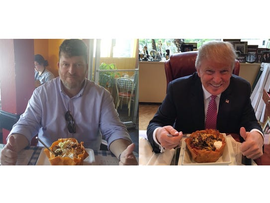 Matt Jansen poses with a taco bowl, remaking an image