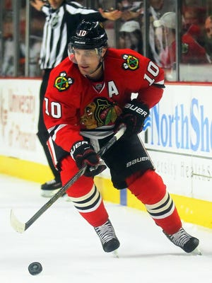 Patrick Sharp notched his third career hat trick in Chicago's rout.