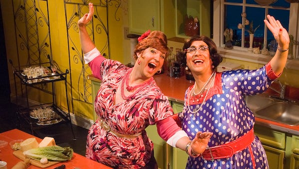 """Stephen Smith (left) and Jay Falzone are Carmela and Delphine Calamari in """"The Calamari Sisters' Clam Bake."""""""