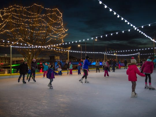 Skaters enjoy the rink at Riverside park during the winter months.
