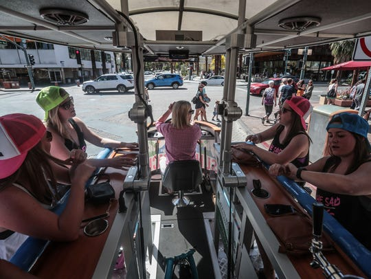 The Sunny Cycle with a bachelorette party on Palm Canyon