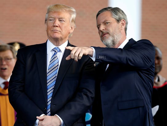 President Trump and Jerry Falwell Jr. in Lynchburg,