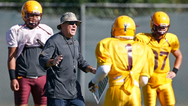 Arizona State head coach Todd Graham during practice on Wednesday, Oct. 22, 2014 at Kajikawa Practice Facility in Tempe.
