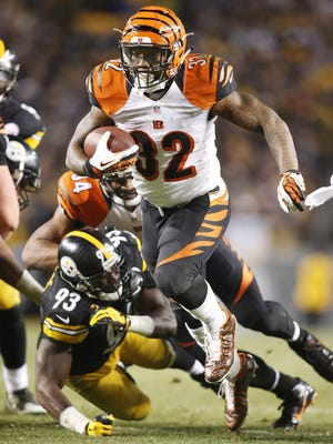 Bengals running back Jeremy Hill, who barely played against the Colts on Oct. 19, has averaged 103.2 rushing yards in the past nine games.
