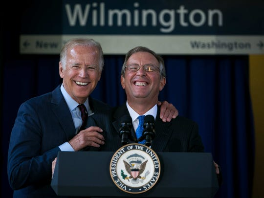 Vice President Joe Biden (left) attends an event at the Wilmington train station with Amtrak Chairman Anthony Coscia in August to announce new investment in rail service that will benefit Amtrak.