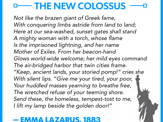 "The full text of ""The New Colossus,"" by Emma Lazarus."