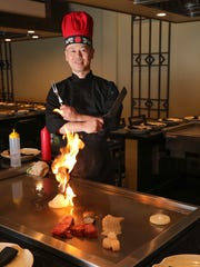 Hibachi chef Gao at Unicorn Asian Sushi and Hibachi  in Garnerville on Tuesday, May 1, 2018.