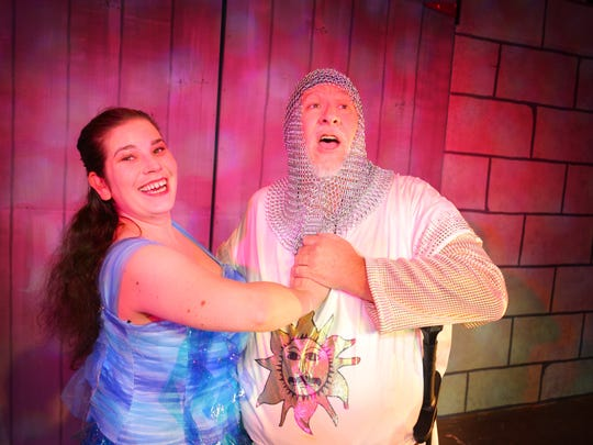 Melinda Villain as Lady of the Lake with Rob Dickman as King Arthur. Surfside Playhouse presents Monte Python's Spamalot. The show runs Nov. 3rd -19th, with 8:00 p.m.shows Friday and Saturday, and Sundays at 2:00 p.m.