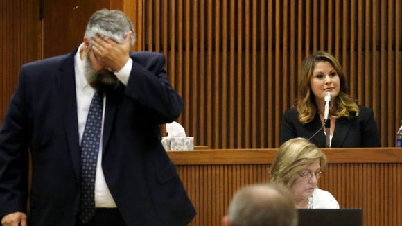 Prosecutor Matt Hart questions witness Minda Riley