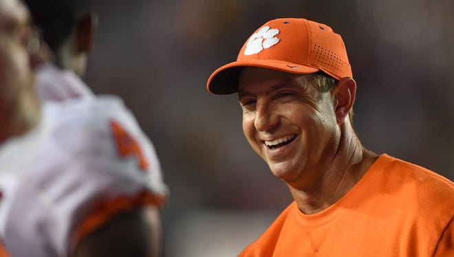 Clemson head coach Dabo Swinney smiles during the 4th quarter at Boston College's Alumni Stadium in Chestnut Hill, Mass. on Friday.