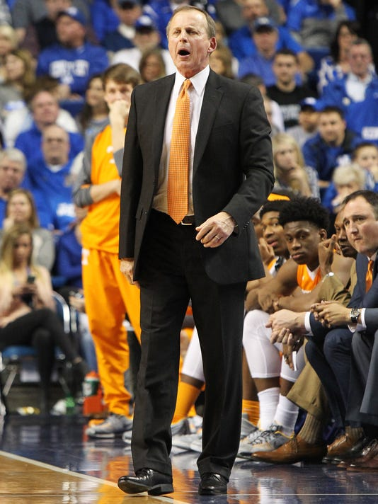 Tennessee head coach Rick Barnes shouts to his team during the second half of an NCAA college basketball game against Kentucky Thursday, Feb. 18, 2016, in Lexington, Ky. Kentucky won 80-70. (AP Photo/James Crisp)