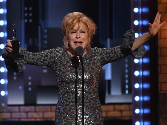 Bette Midler wins her lead actress Tony Award for 'Hello,