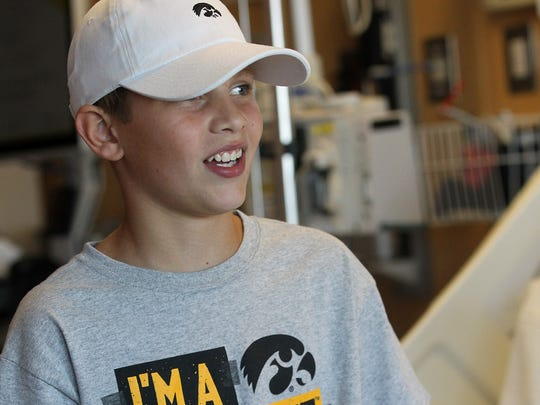 Kaden Kelso, 12, of Newton talks about his upcoming