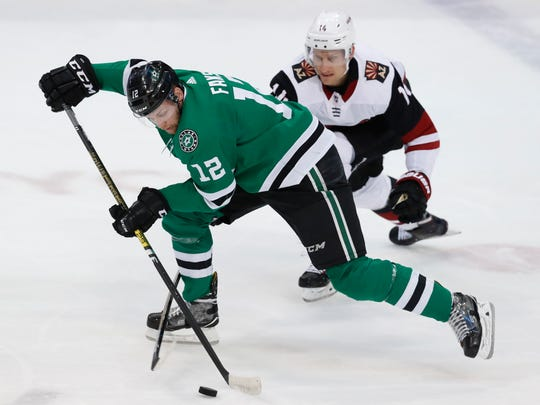 Dallas Stars center Radek Faksa (12) skates for the