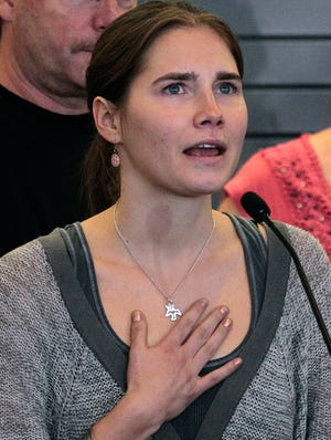 Amanda Knox on Oct. 4, 2011, at Tacoma International Airport in Seattle, shortly after she was released from prison in Italy.