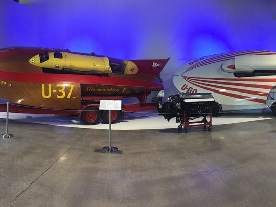 A pair of vintage racing boats on display at the World of Speed museum.