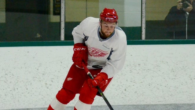 Dylan Sadowy during the Red Wings' developmental camp for prospects July 9, 2016, in Traverse City.