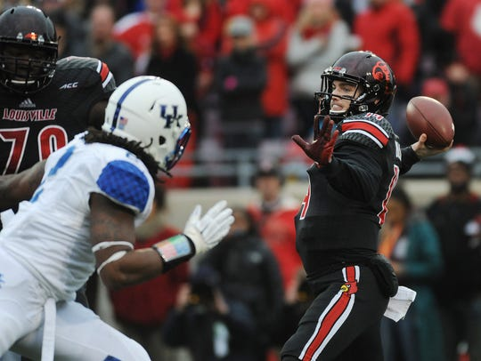 Kyle Bolin attempts a pass against UK in 2014.