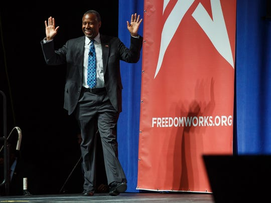 Republican presidential candidate Ben Carson speaks during the Rising Tide Summit at the U.S. Cellular Center on Saturday, Dec. 5, 2015, in Cedar Rapids, Iowa.