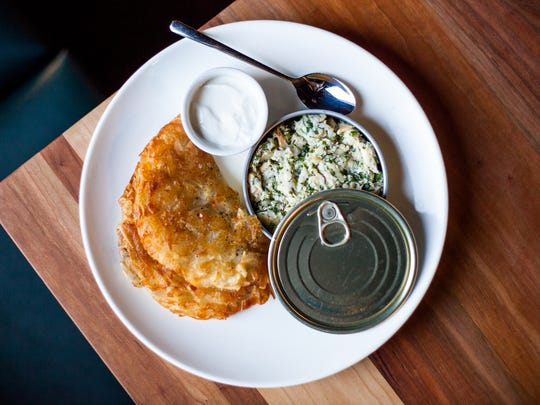 Smoked white fish with schmaltz potato pancake at Kuchnia