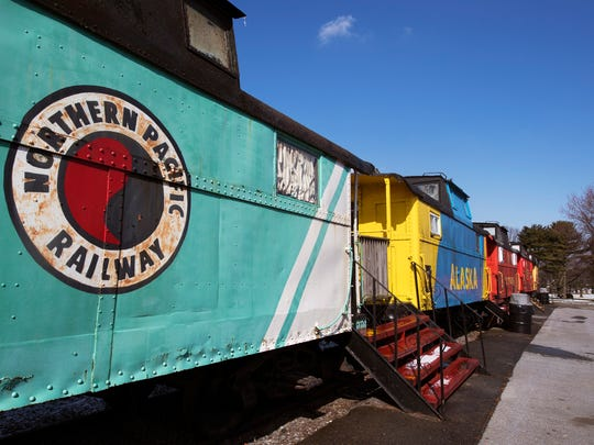 Caboose number 8 is painted in the Northern Pacific