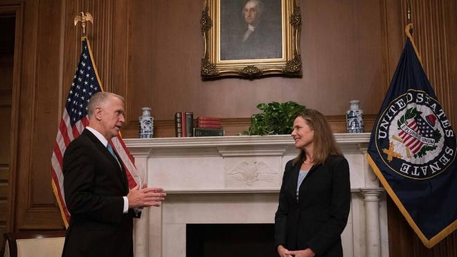 U.S. Senator Thom Tillis (R-NC), a member of the Senate Judiciary Committee, met with Supreme Court Nominee Judge Amy Coney Barrett on Sept. 30. Tillis is among several people to be diagnosed with the virus after attending the Supreme Court nomination ceremony in the White House Rose Garden for Barrett.