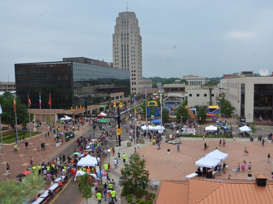 An aerial view of the National Cereal Festival in downtown Battle Creek on June 9, 2018.