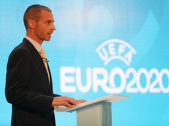UEFA president. Aleksander Ceferin, speaks during the launch event of UEFA Euro 2020 and the unveiling of the tournament brand and the London host city logo at City Hall, in London, Wednesday Sept. 21, 2016. (AP Photo/Tim Ireland)