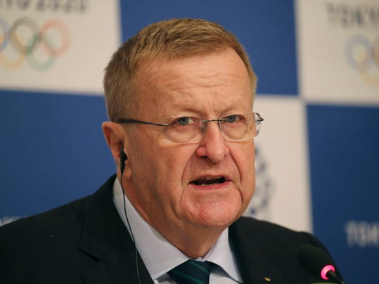 FILE - In this Dec. 2, 2016 file photo, International Olympic Committee Vice President John Coates speaks during a joint press conference of the IOC coordination commission in Tokyo. Coates will have his leadership of Australia's Olympic movement challenged for the first time in decades after 1996 field hockey gold medalist Danni Roche got backing to run against him in May elections. (AP Photo/Koji Sasahara, File)