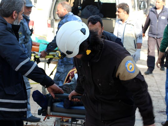 Victims of a car bomb attack in Syria receives medical treatment