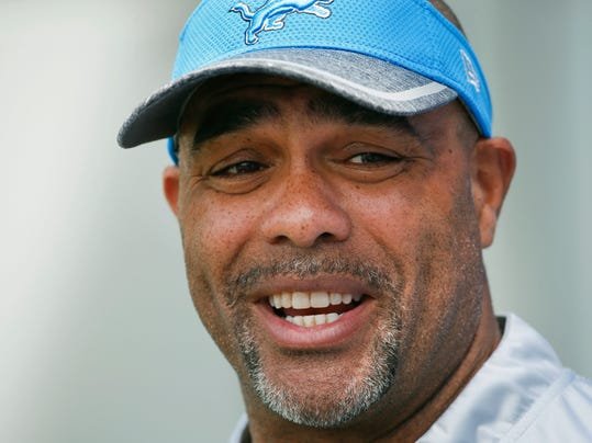 FILE - In this Thursday, June 2, 2016, file photo, Detroit Lions defensive coordinator Teryl Austin speaks to the media after an NFL football practice in Allen Park, Mich. On Monday, Jan. 1, 2018, the Lions fired head coach Jim Caldwell. A person familiar with the team's coaching search says Austin will interview for the job Tuesday. (AP Photo/Paul Sancya, File)