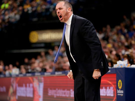 FILE - In this Jan. 27, 2018, file photo, Orlando Magic head coach Frank Vogel yells during the second half of an NBA basketball game against the Indiana Pacers, in Indianapolis. The Orlando Magic have fired Frank Vogel after two seasons. The Magic went 25-57 this season, finishing 54-110 under Vogel. The firing was announced Thursday morning, April 12, 2018, the day after the NBA season ended.  (AP Photo/AJ Mast, File)